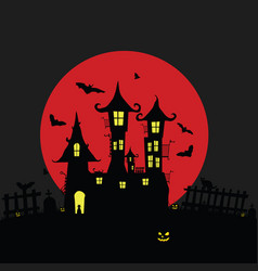 Halloween with castle and pumping color vector