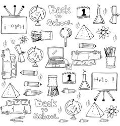 Hand draw object school doodles vector