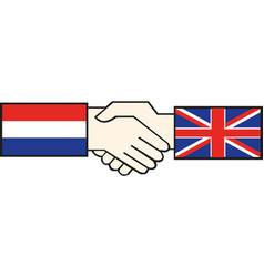handshake with russia and great britain flag vector image