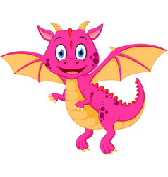 Happy baby dragon cartoon vector