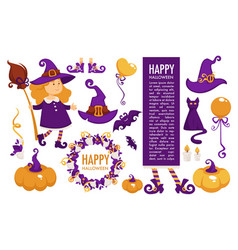 happy halloween celebration symbolic elements vector image