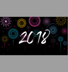 Happy new year banner poster with fireworks vector