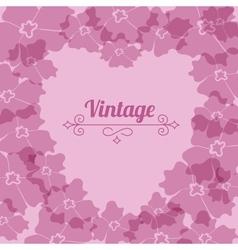 Heart form vintage flower frame vector image