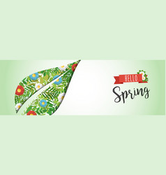 hello spring green leaf paper cutout web banner vector image