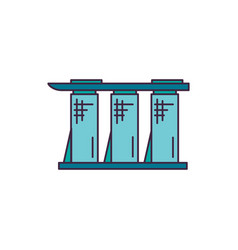 hotel biulding icon cartoon style vector image