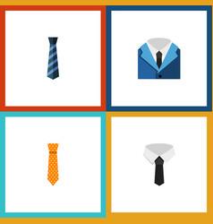 icon flat necktie set of cravat suit clothing vector image