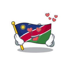 in love flag namibia cartoon with shape vector image