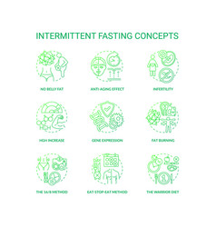 Intermittent fasting dark green concept icons set vector