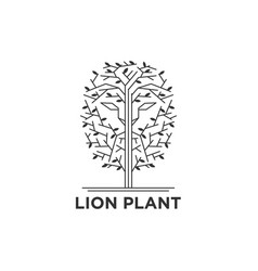 lion face in trees logo vector image