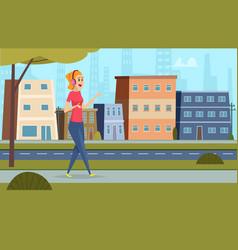 Listen music on street outdoor character standing vector