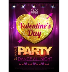 Love heart background Valentine Disco party vector image vector image