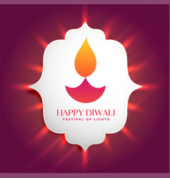 lovely diwali diya glowing frame background vector image