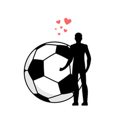 Lover soccer man and football ball love sport vector