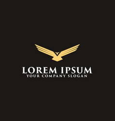 Luxury wing bird logo design concept template vector