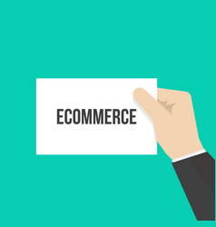 man showing paper ecommerce text vector image