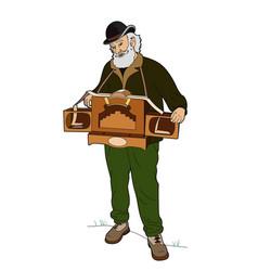 Man with barrel organ vector