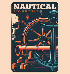 Marine adventure pirates poster with skull or helm vector