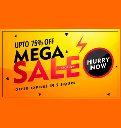 Mega sale offer and discount banner design in vector