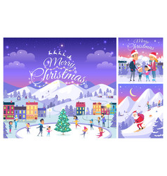 Merry christmas collage of people on holiday vector