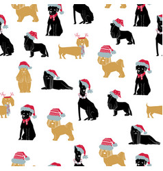 merry christmas dog seamless vector image