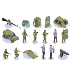 military special forces isometric icons vector image