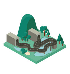 mini forest scene with road and tunnel isometric vector image