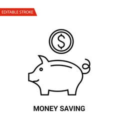 money saving icon thin line vector image