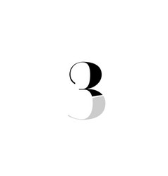 Number 3 three black and white logo icon design vector
