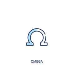 Omega concept 2 colored icon simple line element vector