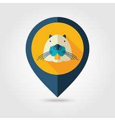 Otter beaver flat pin map icon Animal head vector