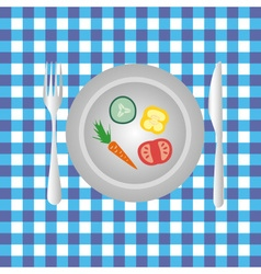 Plate with vegetables on the table diet food eps10 vector