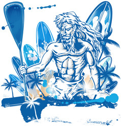 Poseidon puddle surfer on surfboard hand draw vector