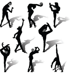 rhythmic gymnastics with ball vector image