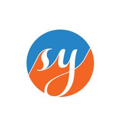s y script letter circle logo design vector image