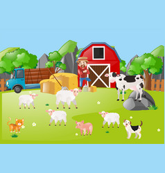 Scene with farmer and animals in the field vector
