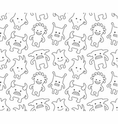 seamless monsters pattern thin line style vector image