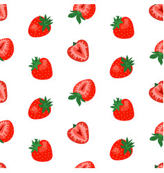 seamless pattern with cute strawberries vector image