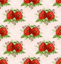 Seamless pattern with poppies bohemian style vector image