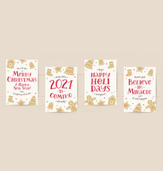 set christmas cards with gingerbreads vector image