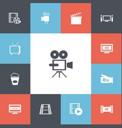 set of 13 editable cinema icons includes symbols vector image