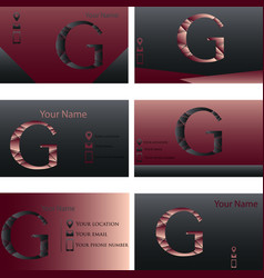 set of black and red business card with letter g vector image