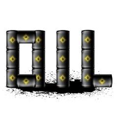 Set of Black Metal Oil Barrels vector