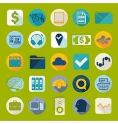 Set of business flat icons vector image