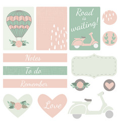 set of cards hearts and stickers with airballoon vector image