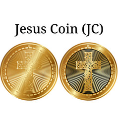 Set of physical golden coin jesus coin jc vector