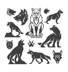 Set Wolfs vector image