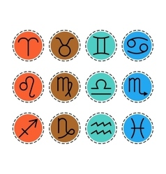 Signs of zodiac flat colored icons for horoscope vector image