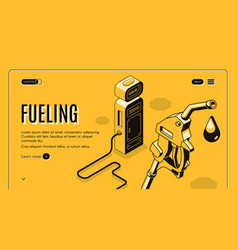 site template with fueling gas station vector image
