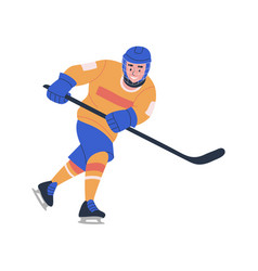 Smiling young teenager boy playing ice hockey game vector