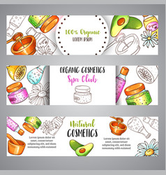 spa club banner hand drawn organic cosmetics and vector image
